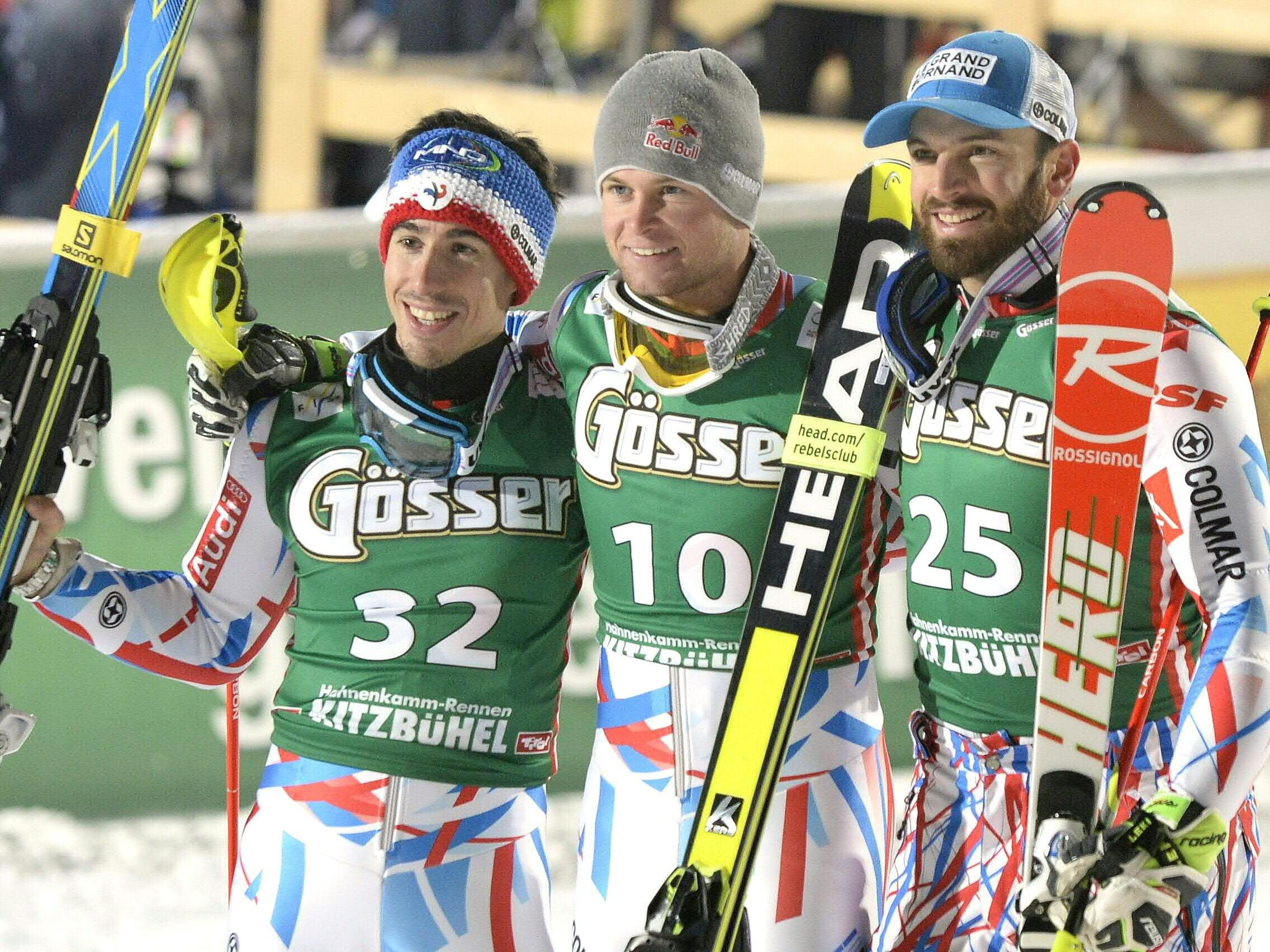 Hirscher und Svindal im Slalom out.