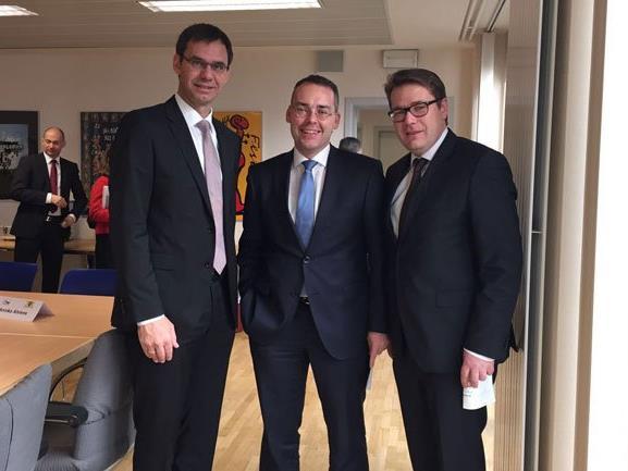 Landeshauptmann Markus Wallner, Baden-Württembergs Europaminister Peter Friedrich und der St. Galler Regierungspräsident Benedikt Würth.