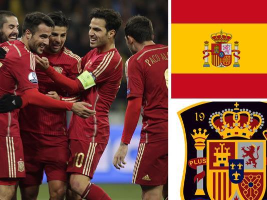 Kder und Teamportrait der spanischen Nationalmannschaft.