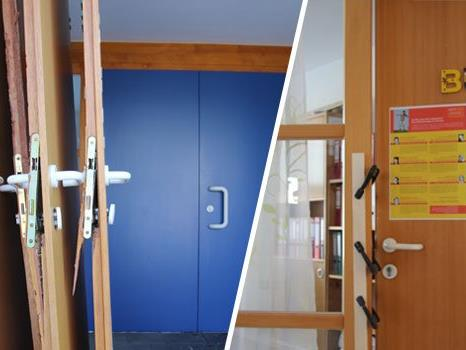 Zerstörte Türen. Auch die Tür zum Büro wurde aufgebrochen