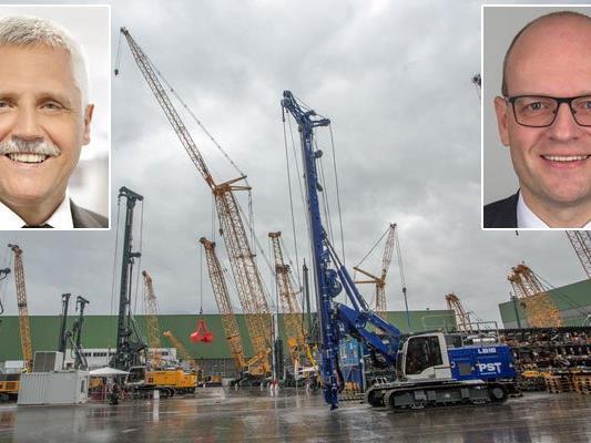Wechsel in dr GF bei Liebherr Nenzing: Auf Anton Grass (kl. Bild links) folgt Markus Schmidle (kl. Bild rechts).