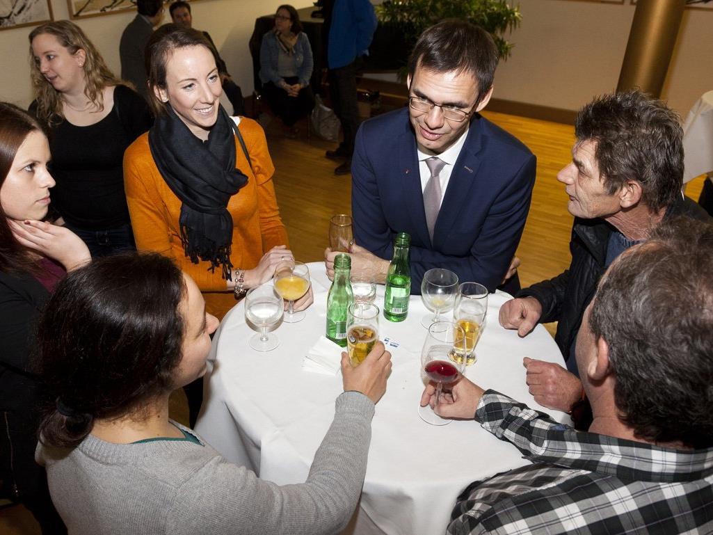 """LH Markus Wallner beim """"Treffpunkt"""" in Göfis."""