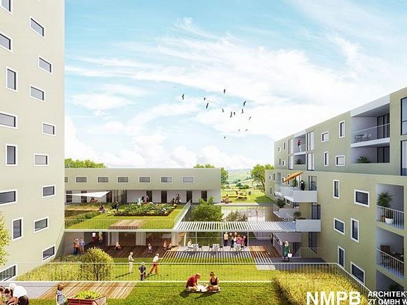 Eine computergenerierte Visualisierung eines geplanten neuen Gemeindebaus auf dem früheren AUA-Gelände in Favoriten in der Fontanastraße in Wien