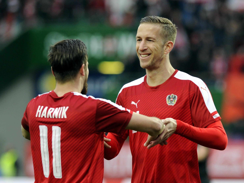 Marc Janko und Martin Harnik erzielen die Tore für Österreich.