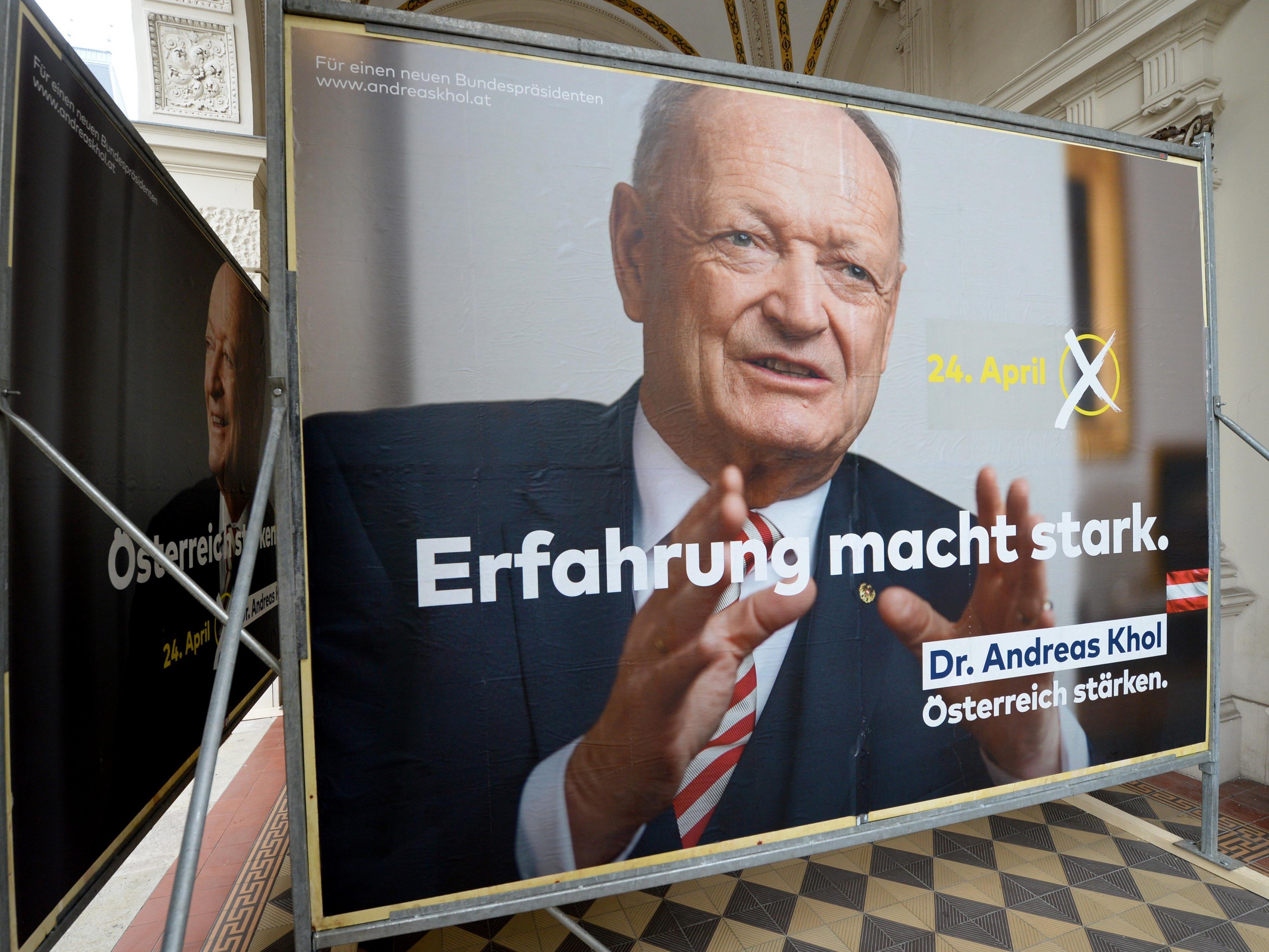 Die ÖVP hat die Plakatkampagne für Andreas Khol vorgestellt.
