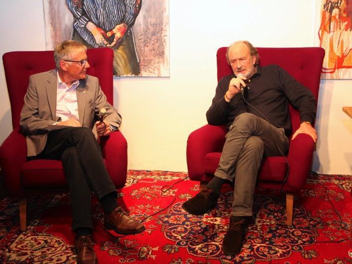 Günter Polanec im Gespräch mit Miguel Herz-Kestranek auf Schloss Amberg.
