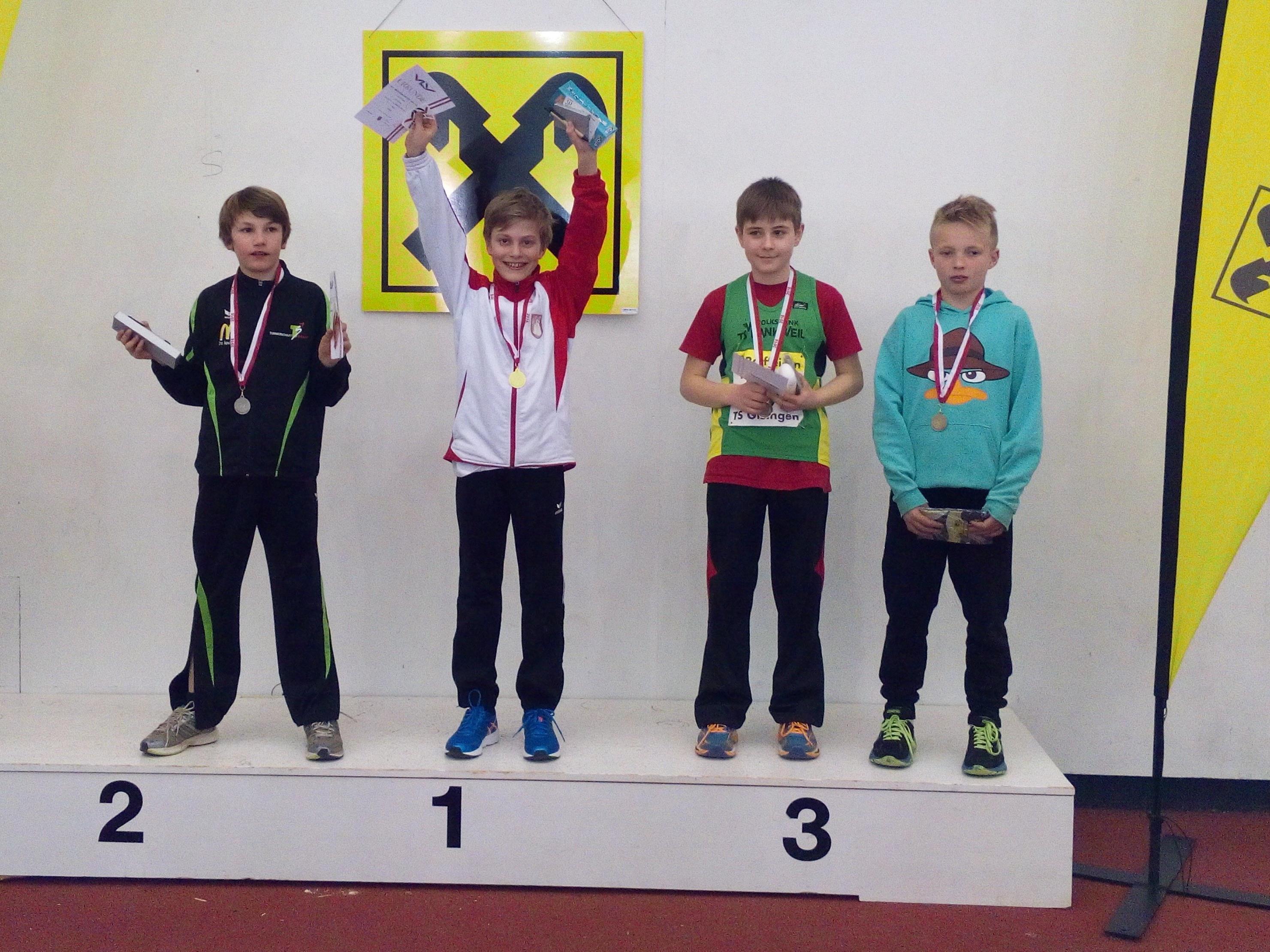 Leon Fürpass vom SV Lochau Leichtathletik hieß der Sieger beim 50-Meter-Sprint in der Klasse MU12 der VLV Leichtathletik Hallenmeisterschaft.