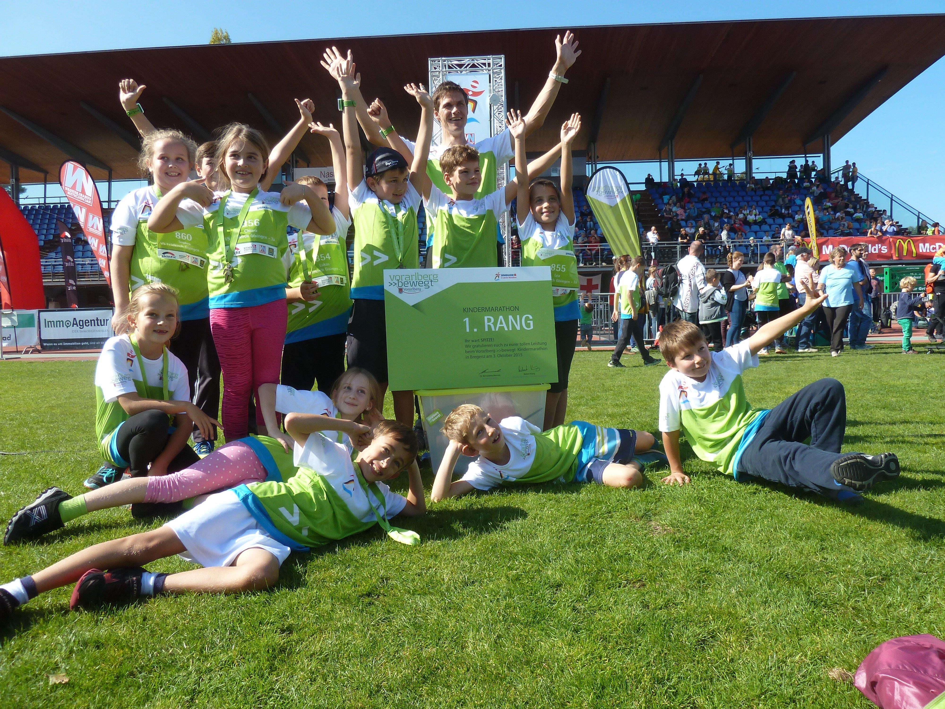 Die Gisinger Volksschüler holten sich den ersten Platz beim Kindermarathon.