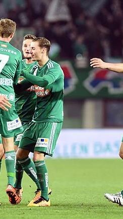 Jubel von Rapid nach dem 1:0 gegen Mattersburg