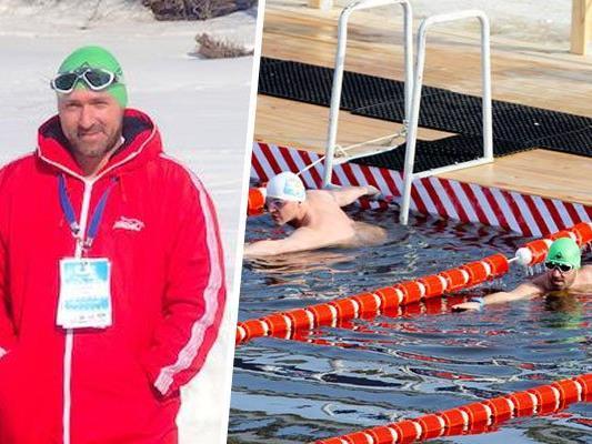 Josef Köberl startete bei der 10. WM im Winterschwimmen.