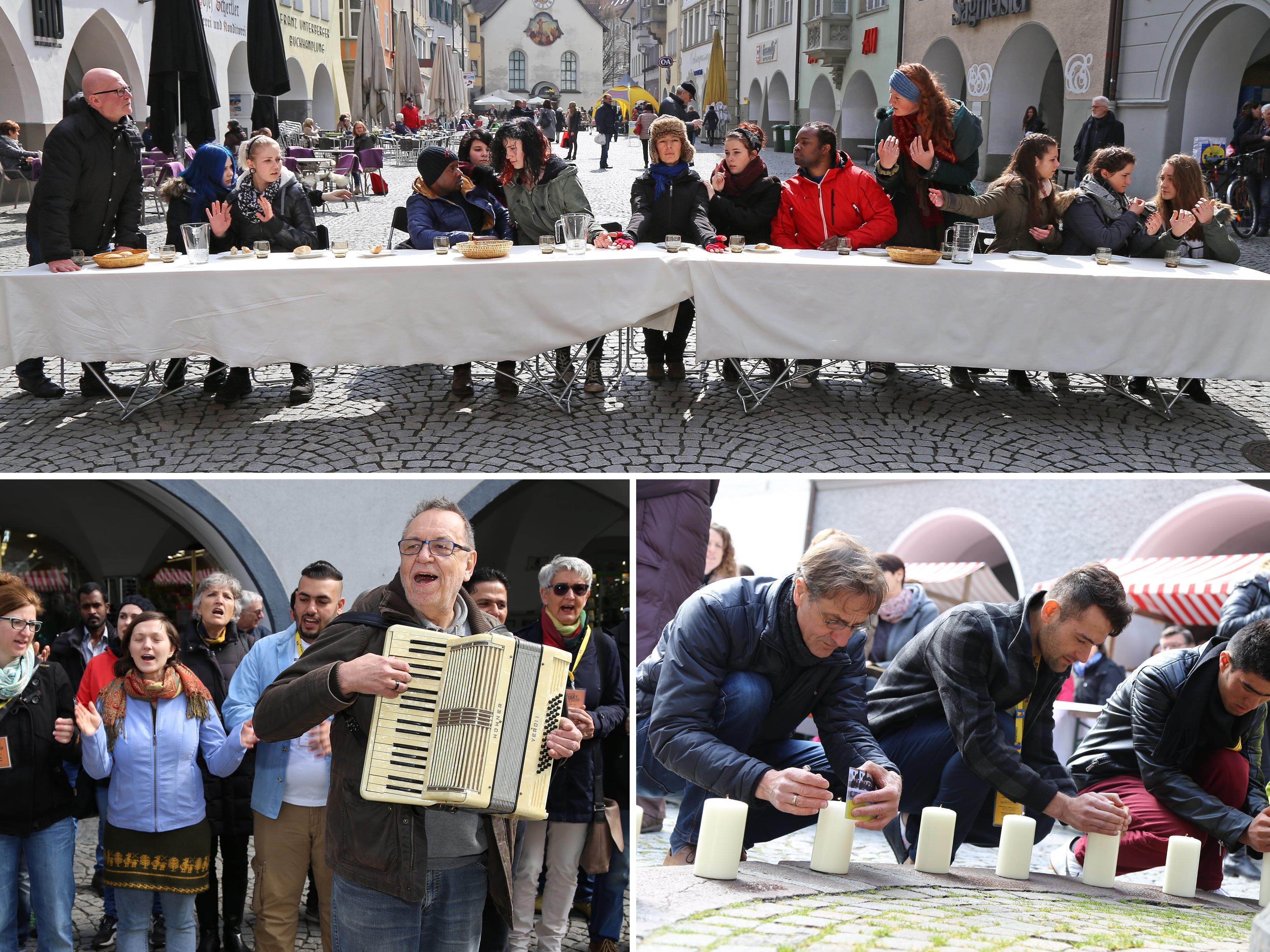 Nach einer Gedenkminute für die Brüssel-Opfer wurde das letzte Abendma(hl) in der Marktgasse inszeniert.