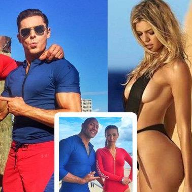"""""""The Rock"""", Zac Efron und Kelly Rohrbach sind die neuen Baywatch-Stars."""