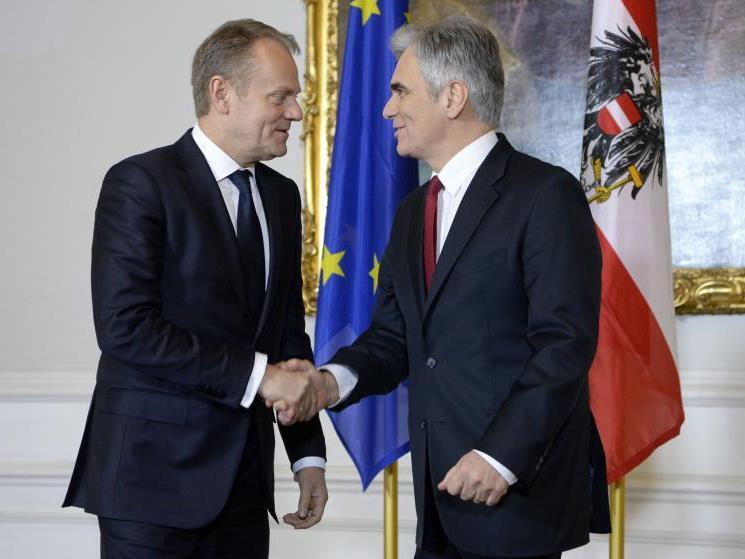 Treffen von Bundeskanzler Faymann mit EU-Ratspräsident Tusk
