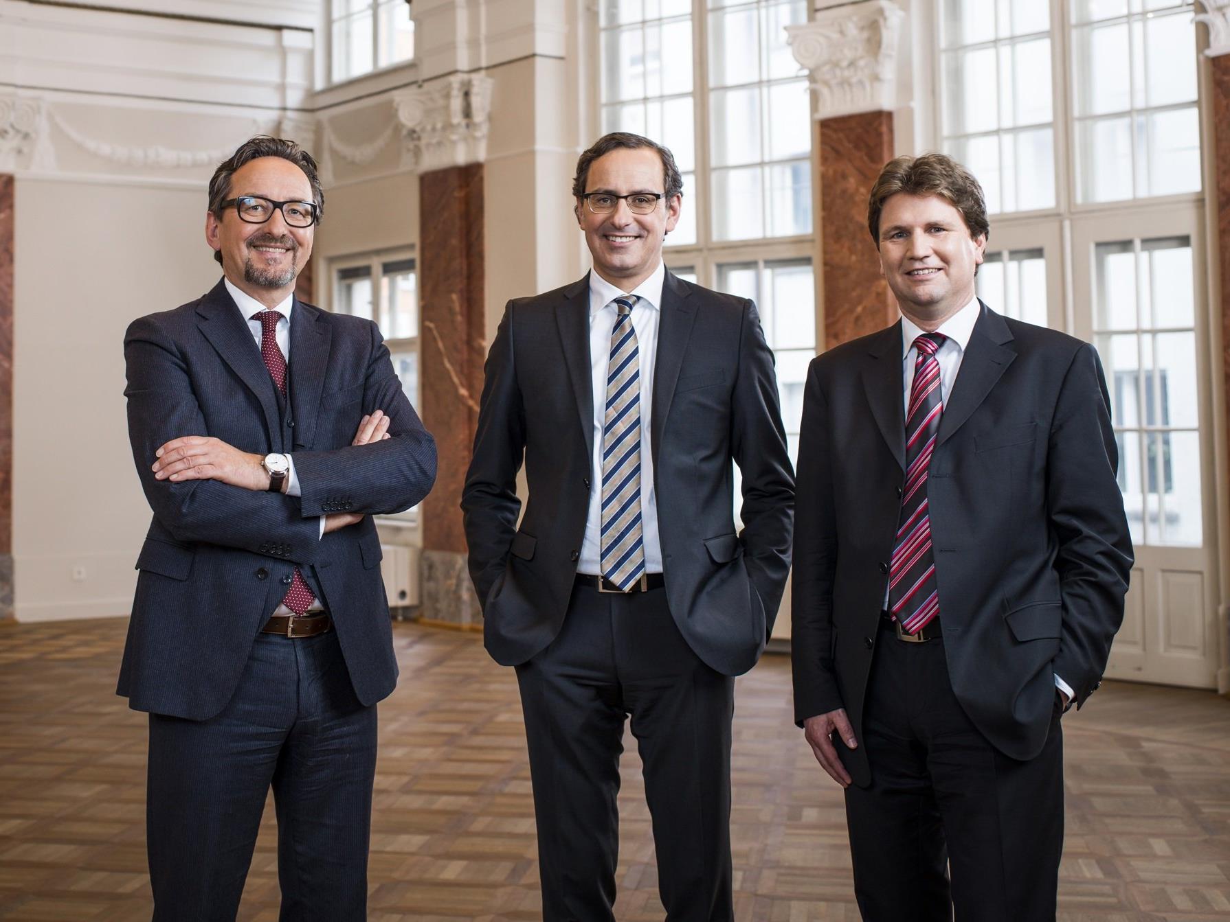 Die Vorstände der Hypo Landesbank Vorarlberg: Dr. Johannes Hefel, Dr. Michael Grahammer, Mag. Michel Haller