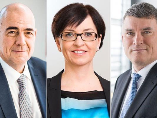 V.l.n.r.: Zumtobel-CEO Ulrich Schumacher, Finanzvorstand Karin Sonnenmoser und der neue dritte im Bunde des Vorstandes, Alfred Felder.