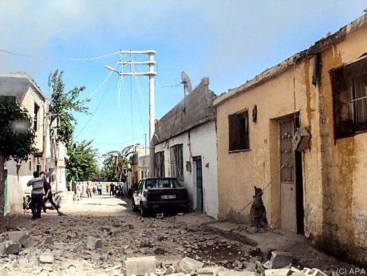 Zerstörte Häuser in der Grenzstadt Kilis