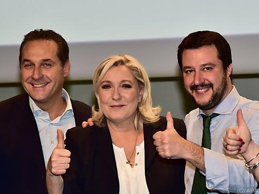 FPÖ-Chef Strache mit Le Pen und Salvini