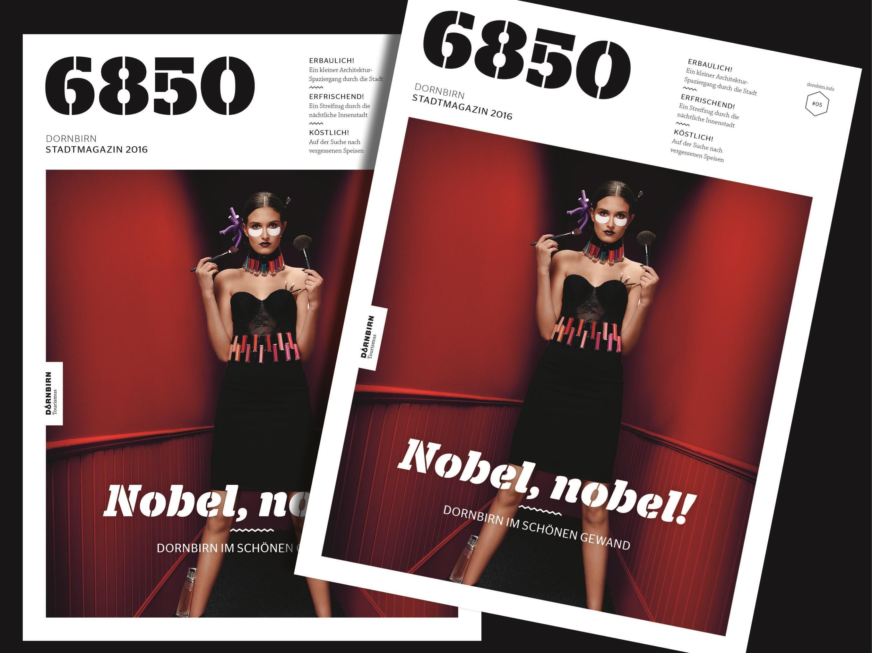 """Die aktuelle Ausgabe des Stadtmagazins """"6850"""" ist in Deutsch und Englisch erhältlich."""