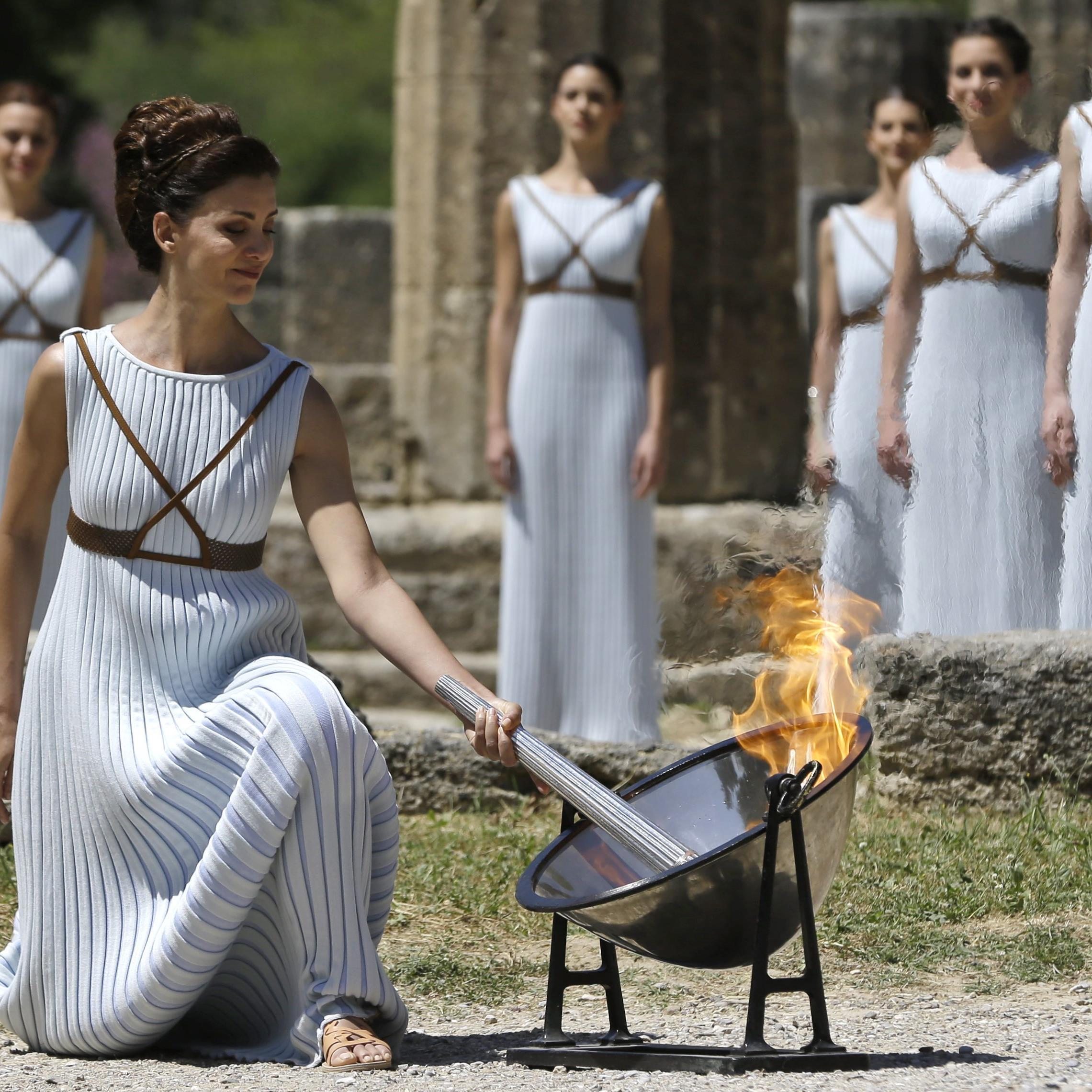 In der antiken Städte Olympia wurde das Feuer für die Sommerspiele in Rio de Janeiro entfacht