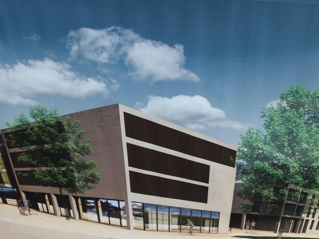 Ausgestellte Visualisierung des geplanten Saminaparks im Ortszentrum