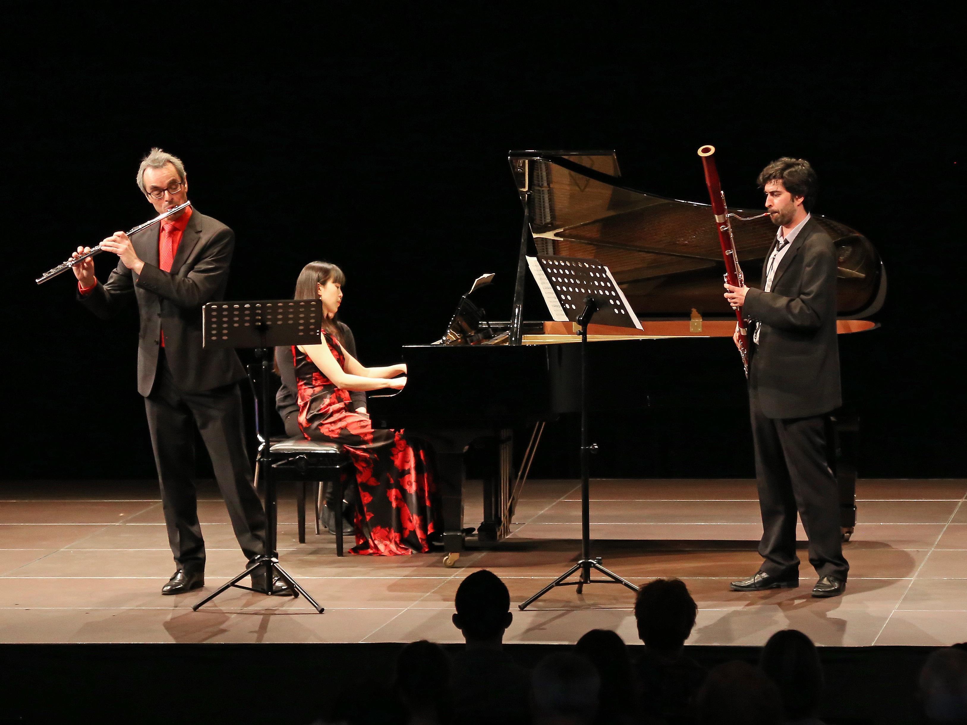 Konzert des heimischen Meister-Trios im Pförtnerhaus: Eugen Bertel, Yukie Togashi; Matthew Smith (von links).