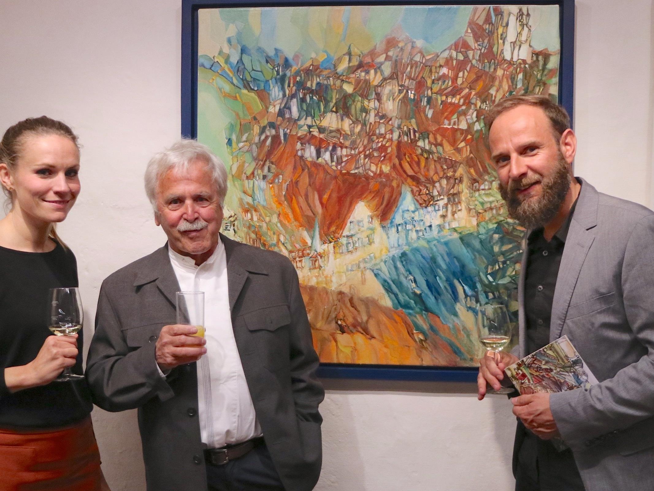 Künstler Thomas Payr mit Brigitta und Lorenz Schatz aus Tirol.