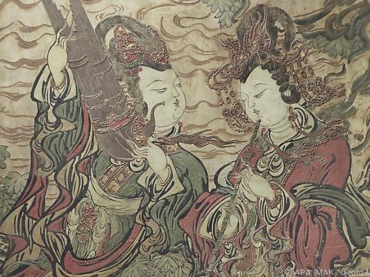 Chinesische Wandmalerei aus der Yuan-Dynastie (1260-1368)