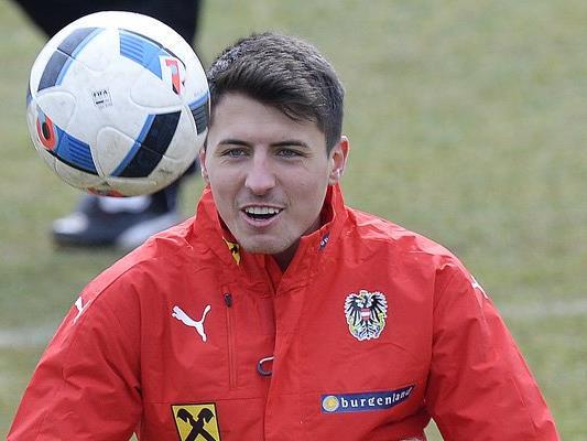 Alessandro Schöpf im Training mit der österreichischen Nationalmannschaft.