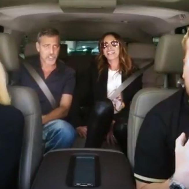 Gwen Stefanie, George Clooney und Julia roberts singen im Auto.