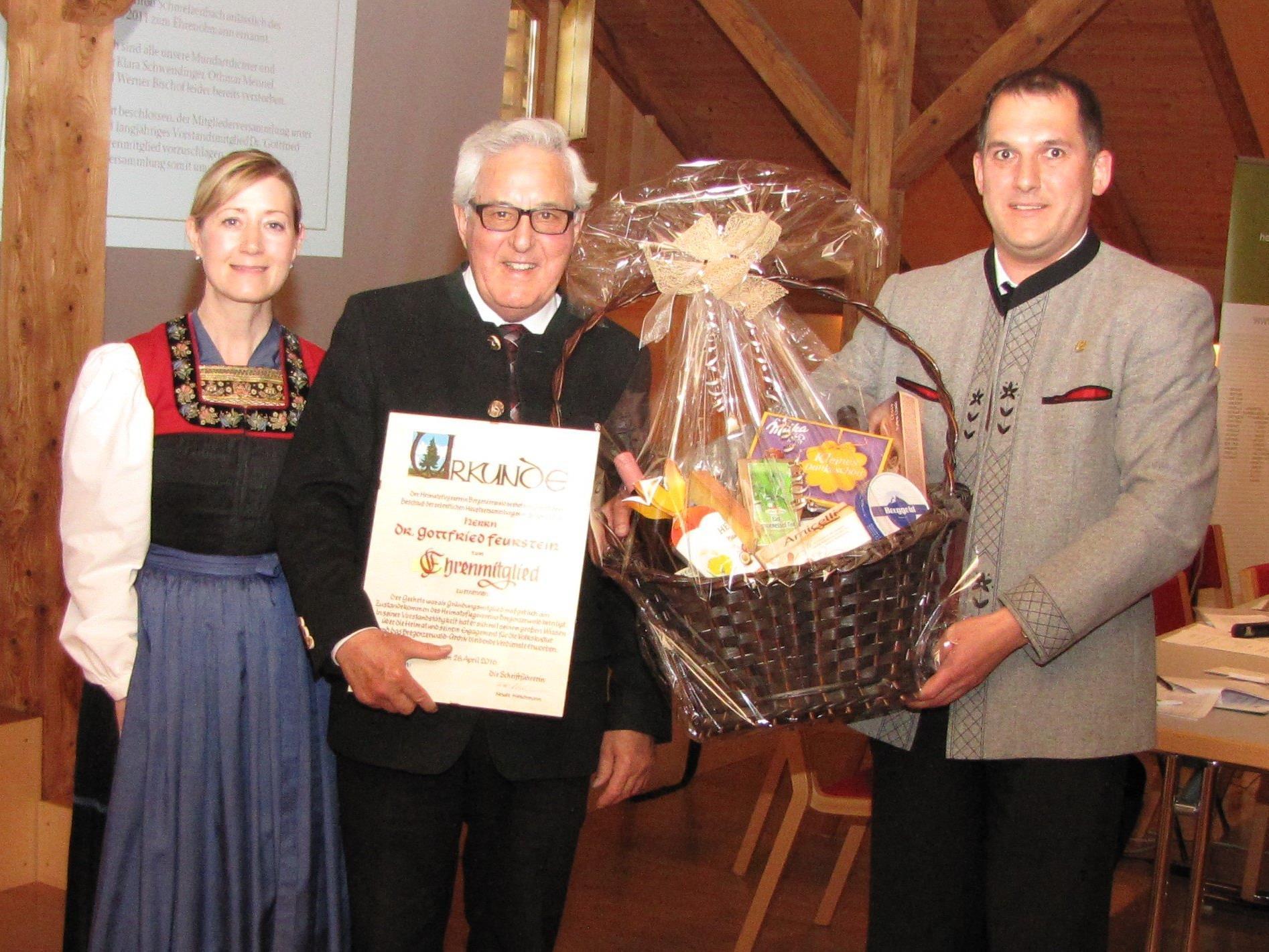 Renate Hirschmann, Dr. Gottfried Feurstein und Obmann Richard Bilgeri.