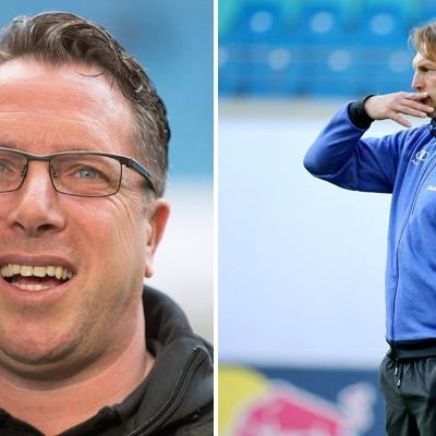 Ralph Hasenhüttl (r) wird neuer Trainer bei RB Leipzig - Markus Kauczinski (l) sein Nachfolger in Ingolstadt