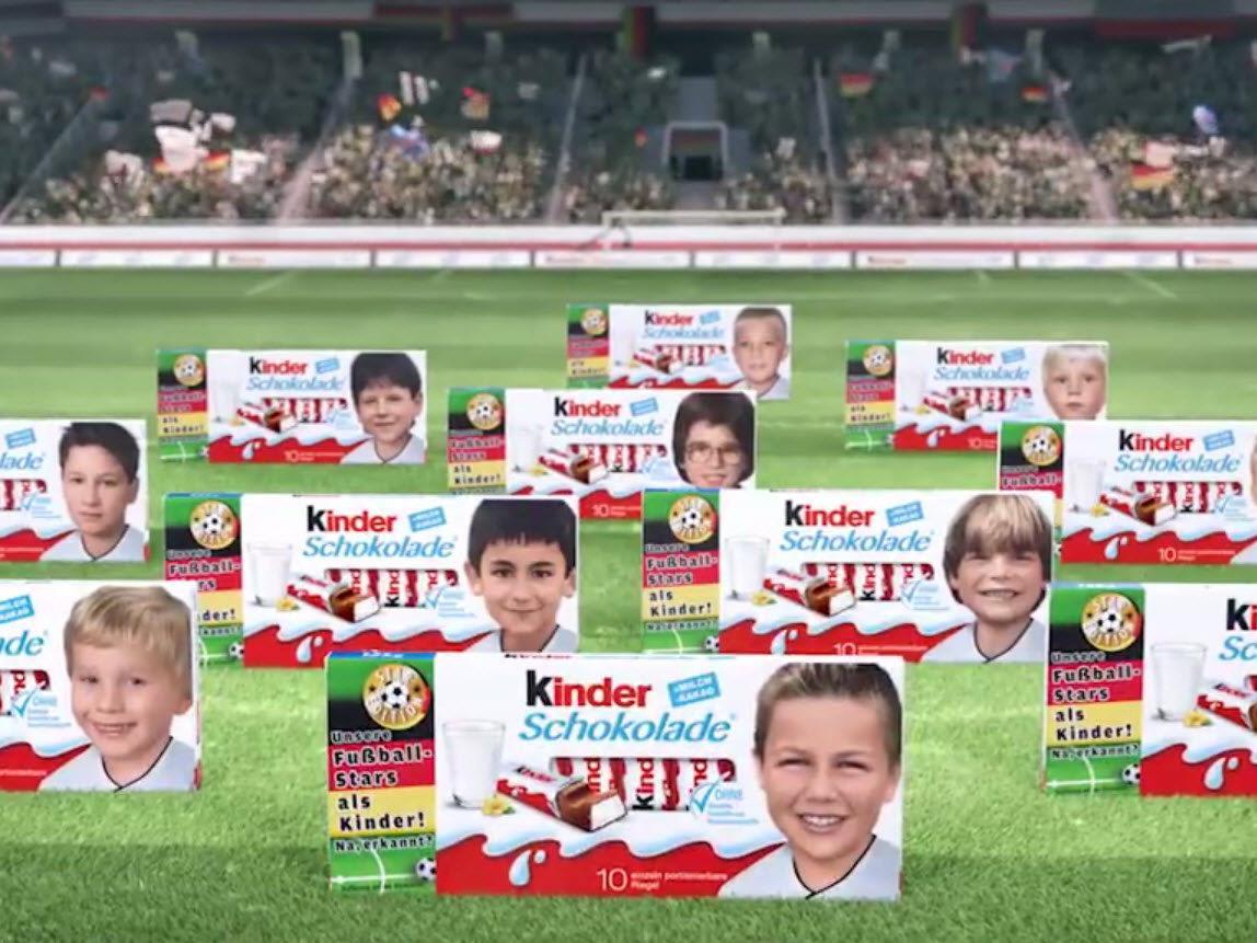 Schockoriegel mit Kinderfotos von deutschen Nationalspielern