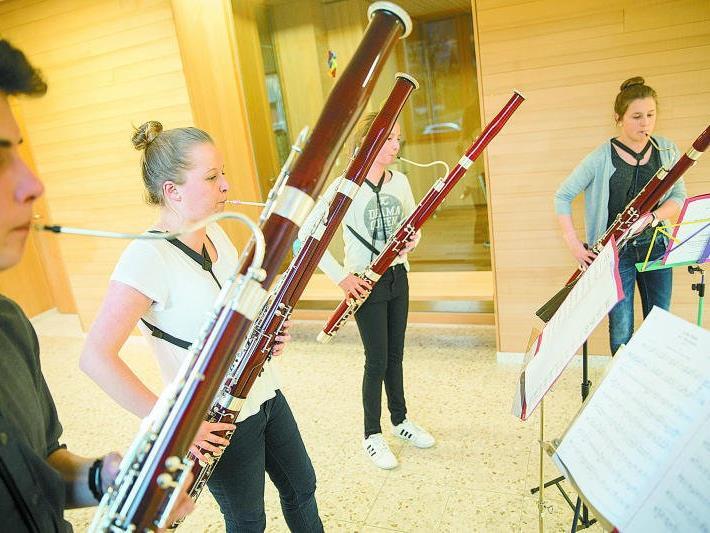 Das Quartett beim Proben in Schwarzenberg