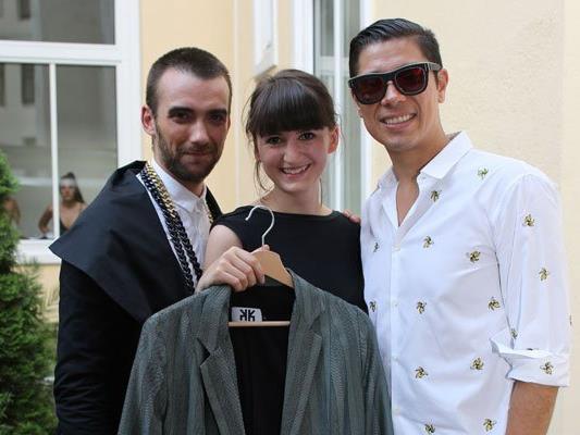 Guy Debast, Alexis Fernandez Gonzalez und Andrea Kerber bei der VIS A VIS Fashionshow.