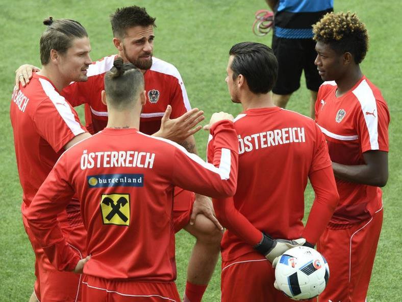 Die ÖFB-Spieler bereiten sich auf die Partie gegen Portugal vor.