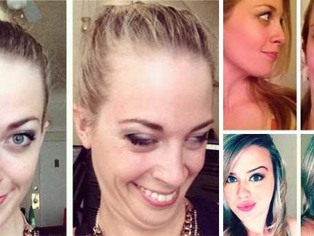 Hübsche Frauen versuchen ihre Gesichter so hässlich wie möglich darzustellen