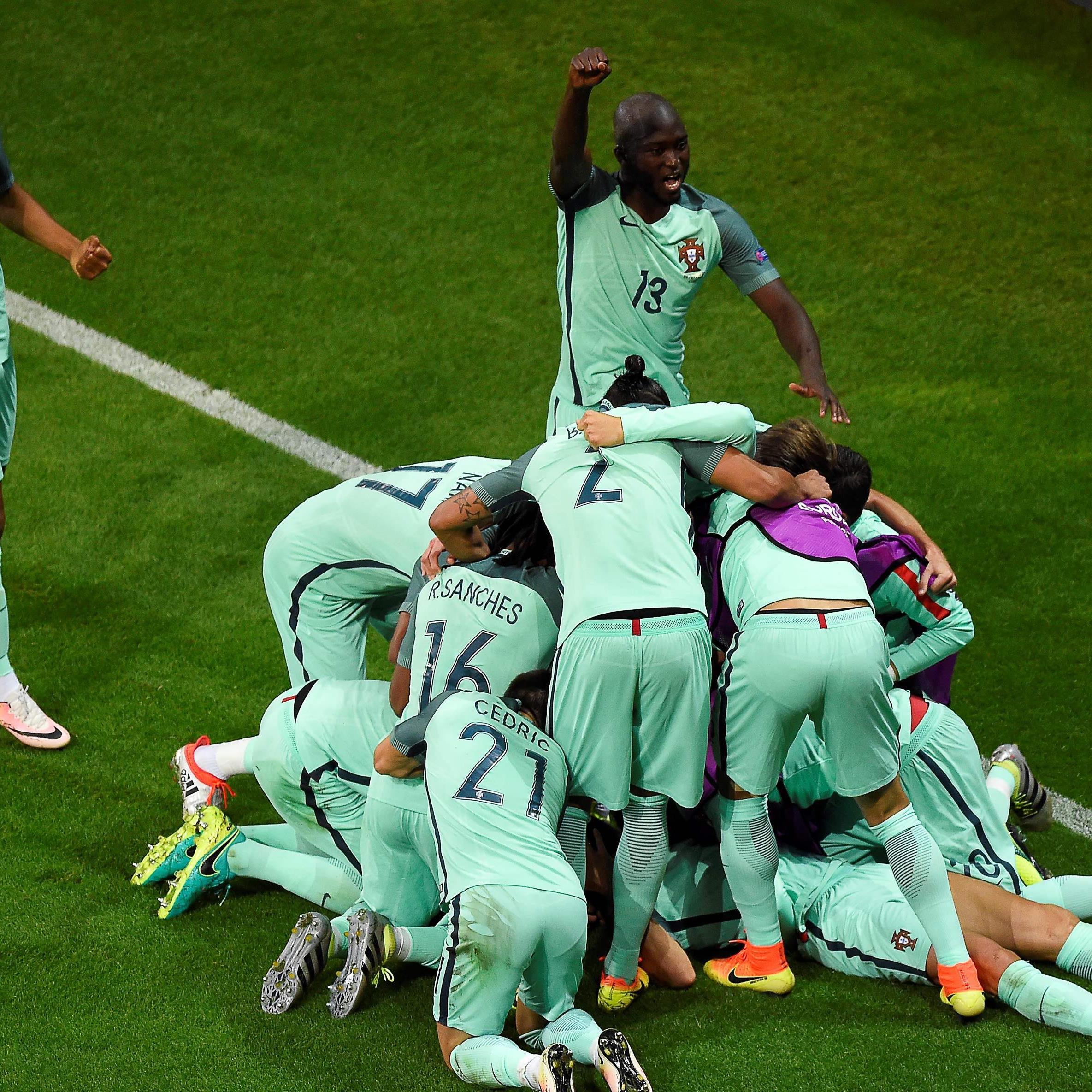 Großer Jubel bei Portugal über den Finaleinzug bei der Euro 2016.