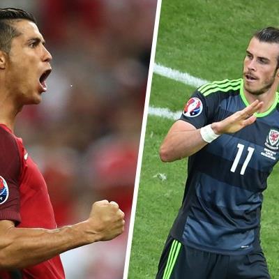 Cristiano Ronaldo (l.) und Gareth Bale treffen mit Portugal und Wales im Halbfinale der EM aufeinander.