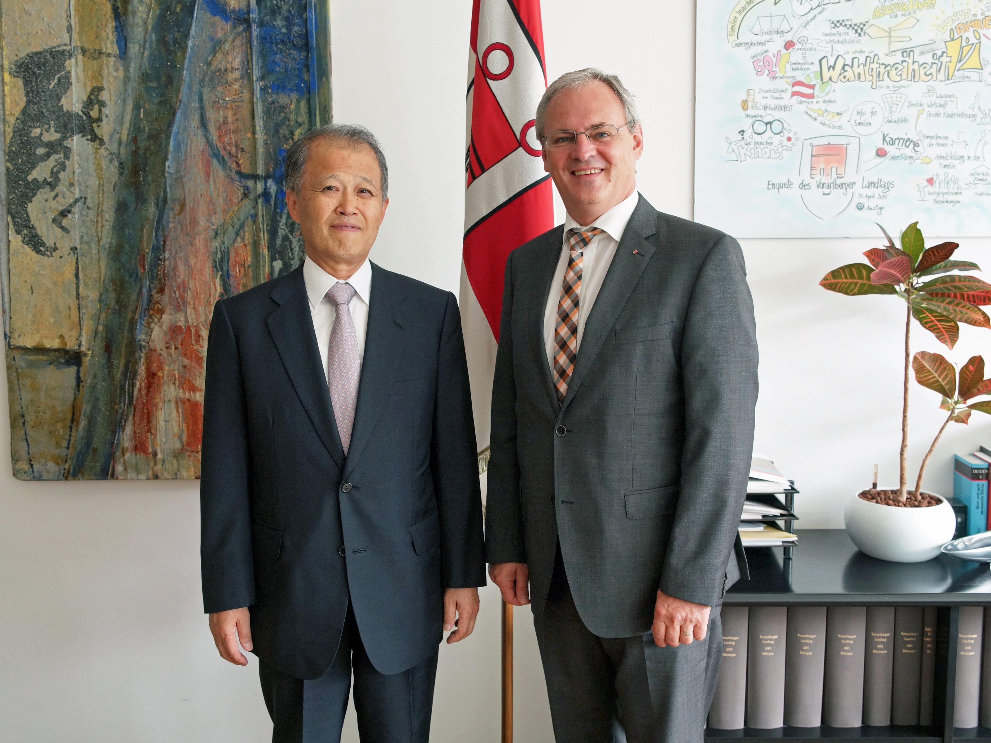 Der japanische Botschafter für Österreich, Makoto Taketoshi, war heute zu Besuch in der Landeshauptstadt.