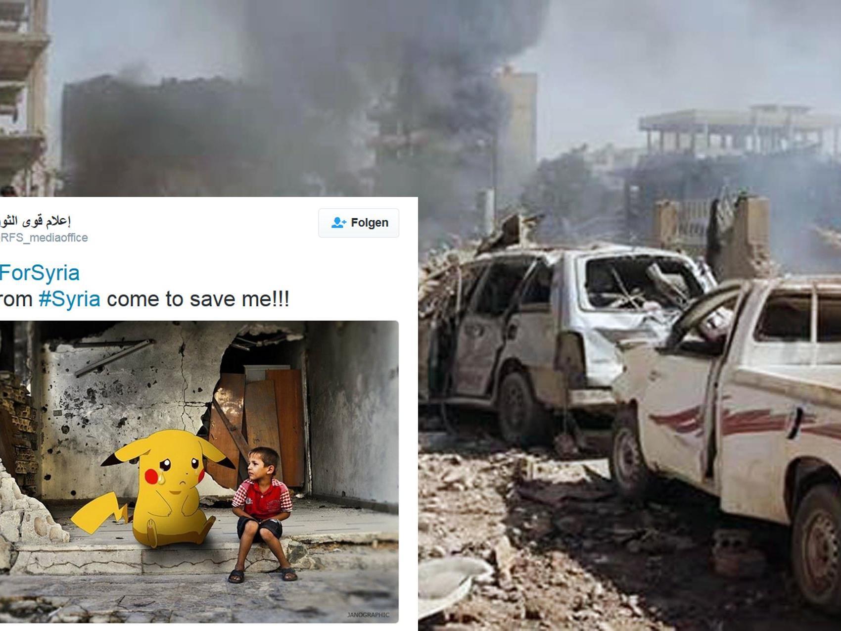 Syrische Kinder starten bewegende Aufrufe mit Pokémon-Abbildungen.