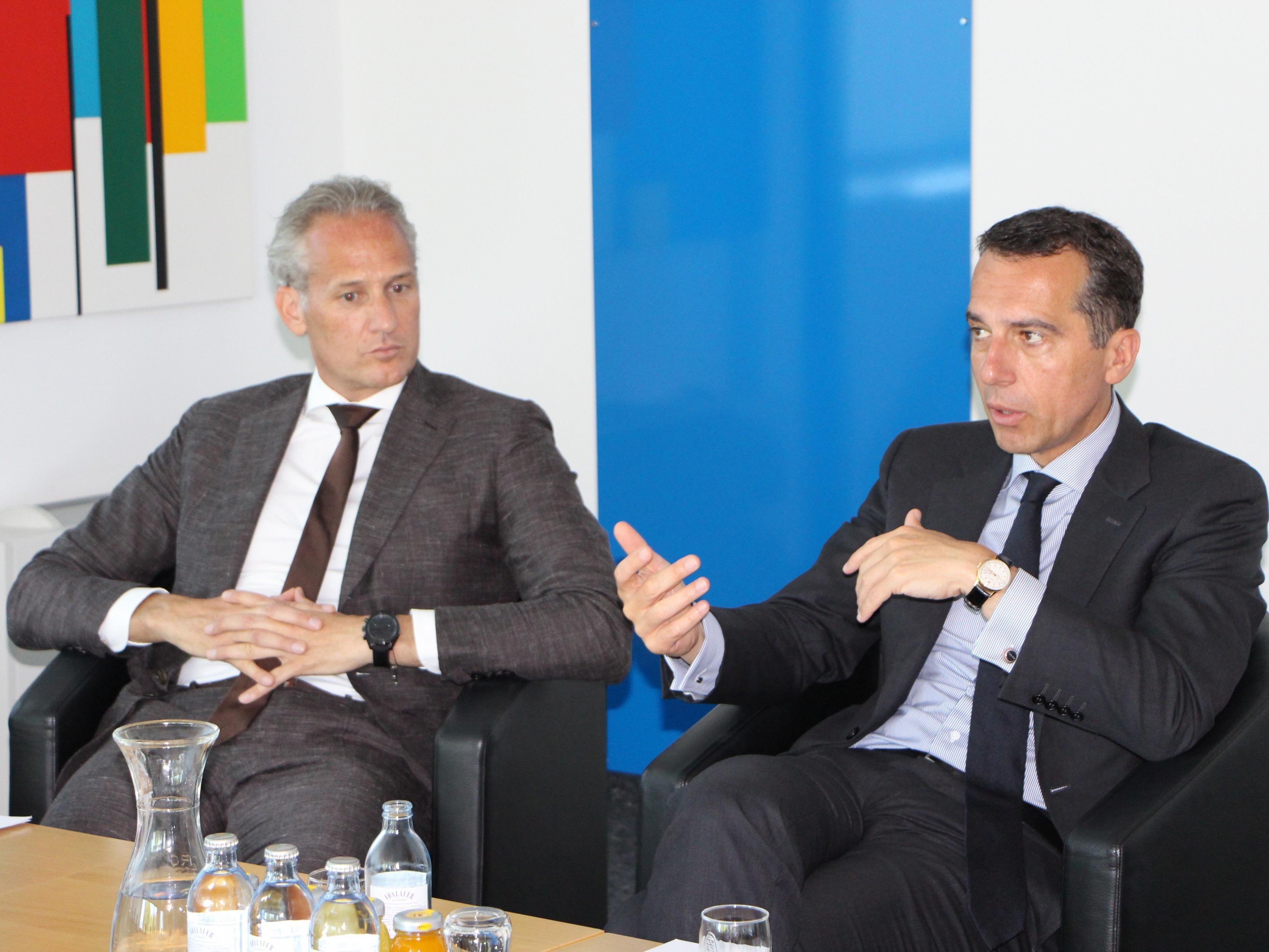 Bundeskanzler Christian Kern (SPÖ) zu Gast bei IV-Vorarlberg-Präsident Martin Ohneberg.
