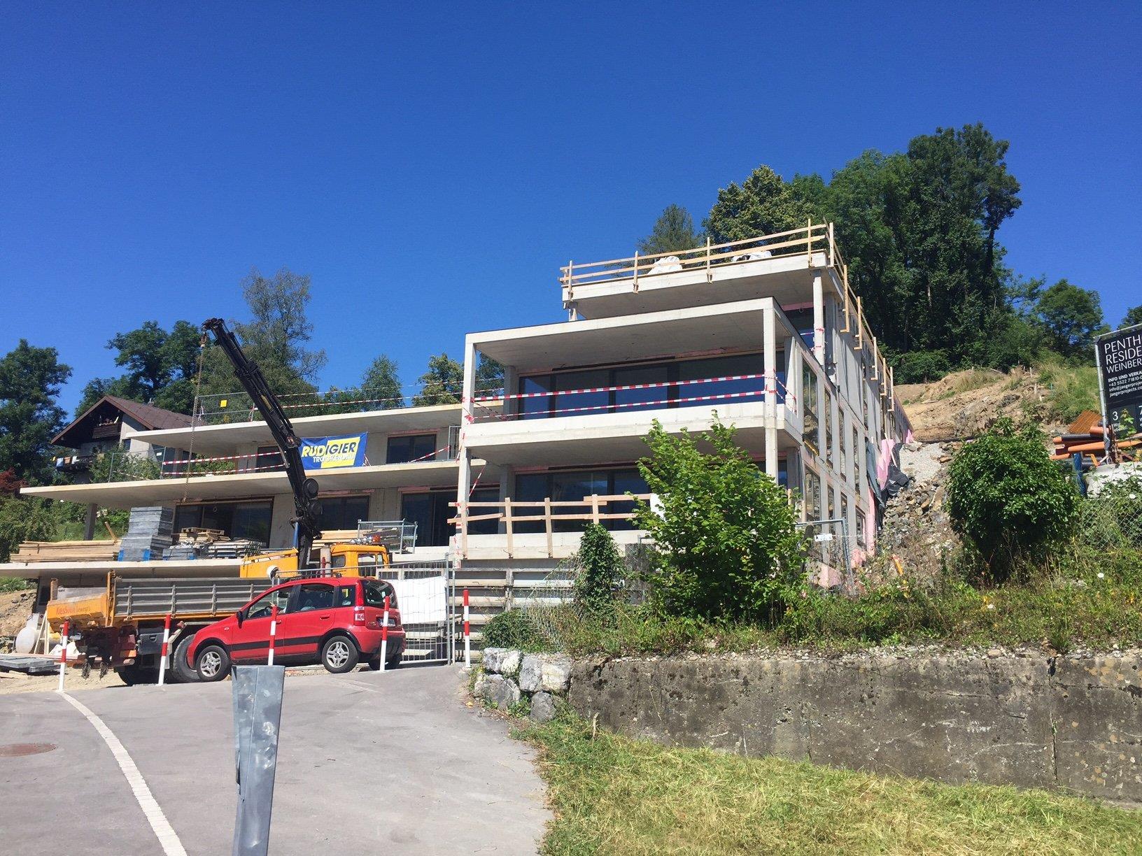 Die Wohnanlage am Ardetzenberg ist im Rohbau bereits fertiggestellt.