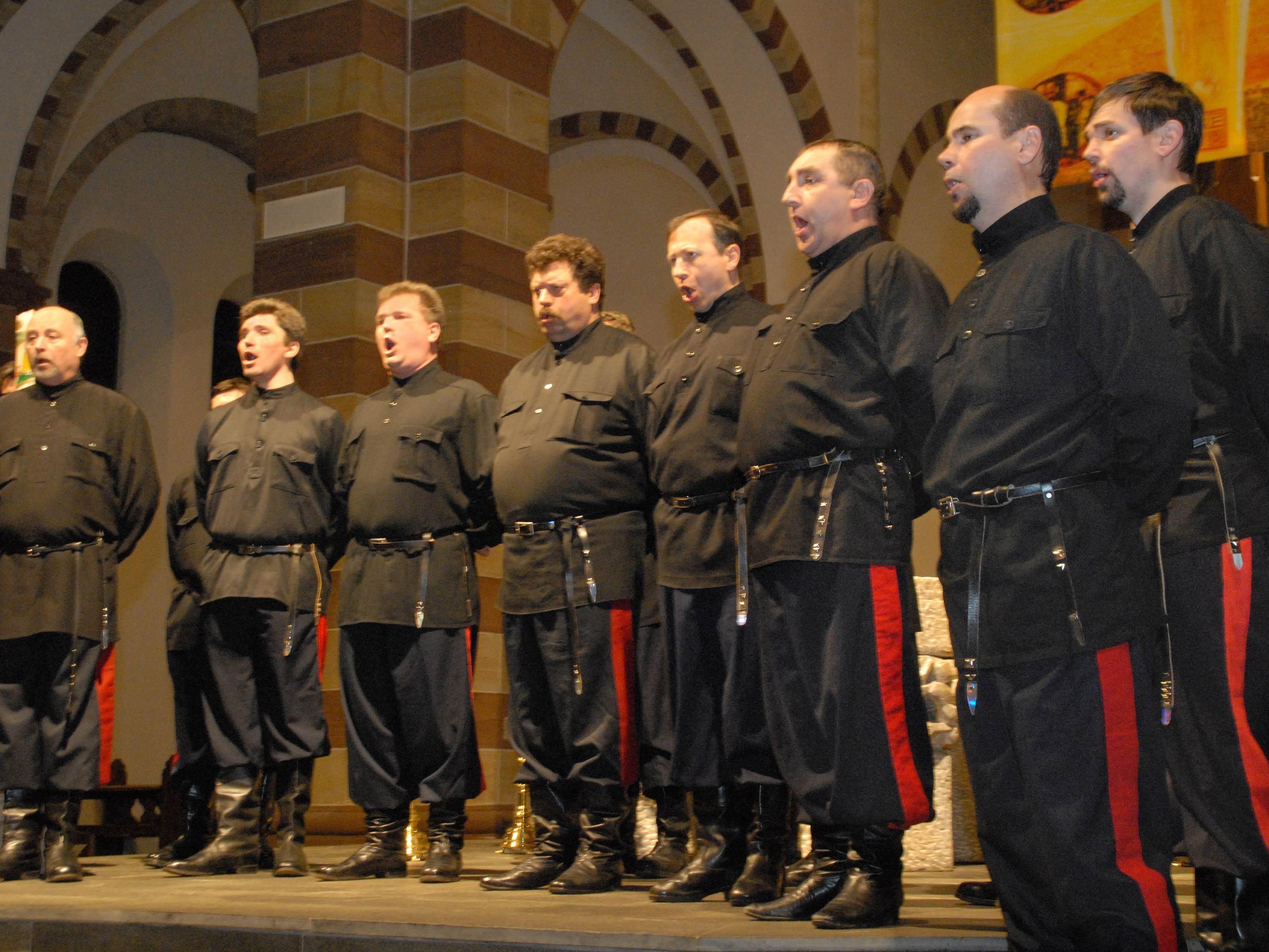 """Einladung zum Konzert mit dem """"Don Kosaken Chor Serge Jaroff"""" unter der künstlerischen Leitung von Wanja Hlibka in der Pfarrkirche in Lochau."""