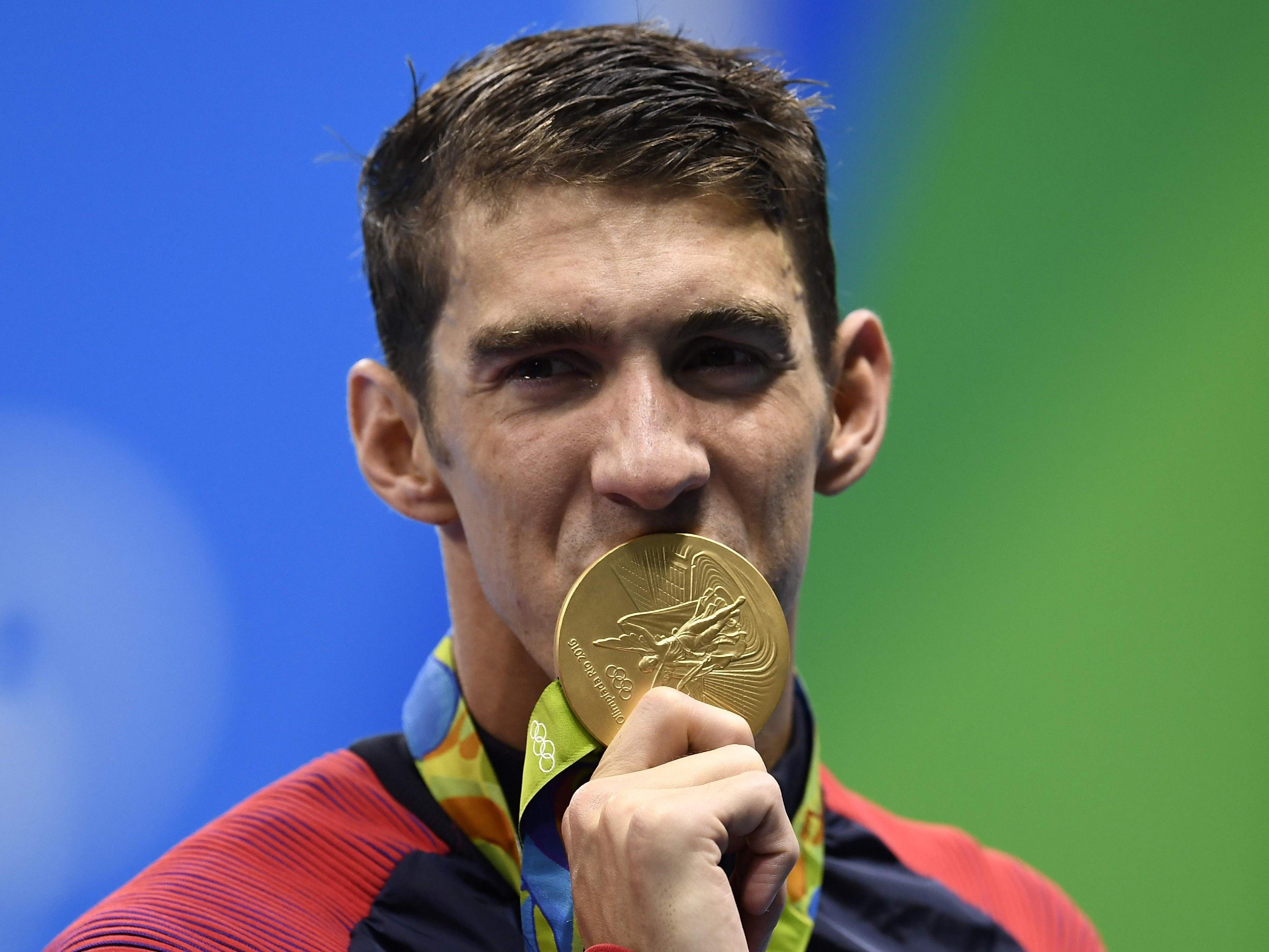 """Der amerikanische """"Gold-Fisch"""": Michael Phelps."""