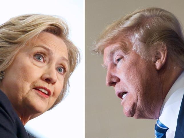 Glaubt man den Umfragen, liegt Clinton doch recht deutlich vorne