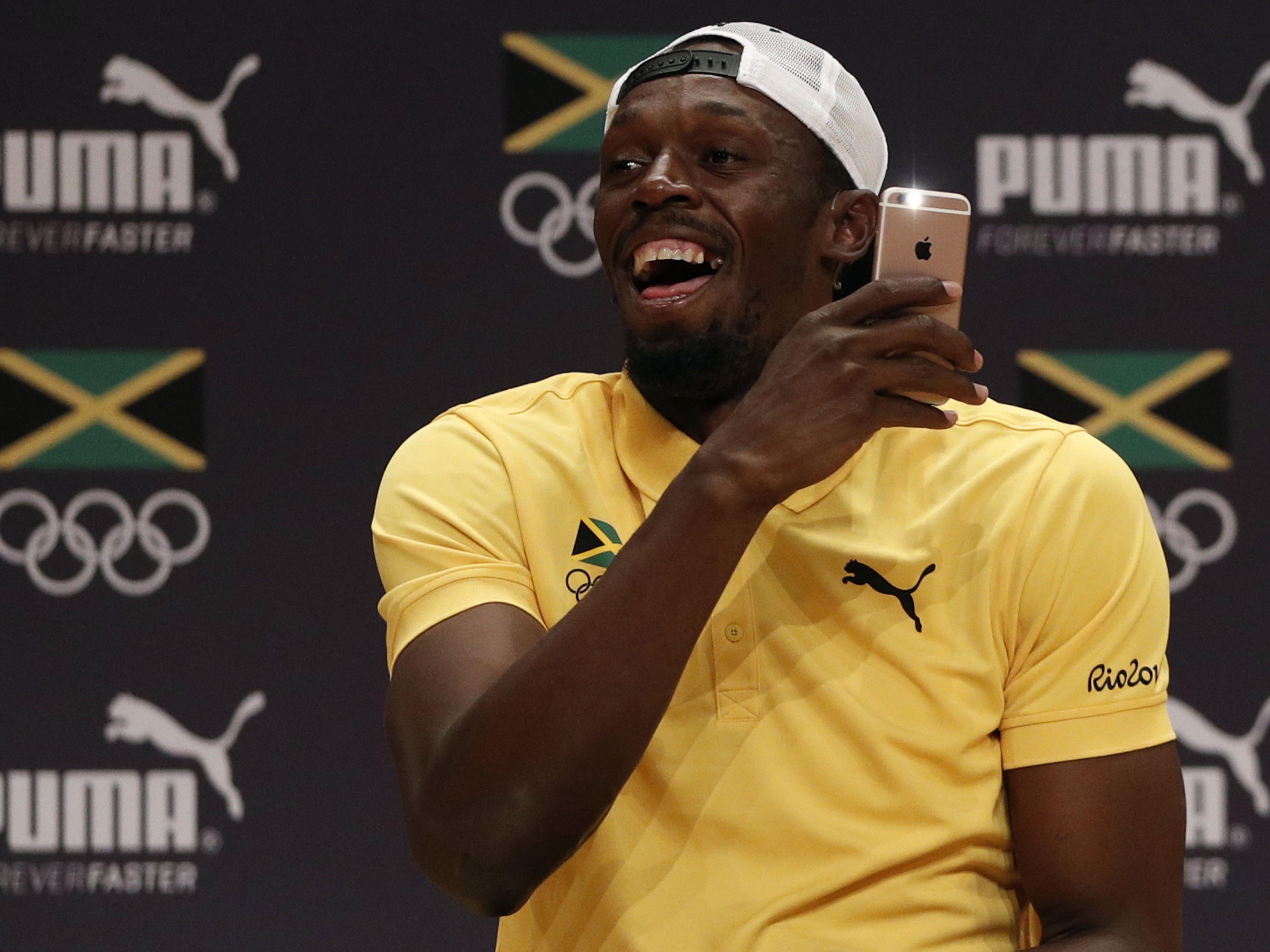 Spaßvogel Bolt nahm es mit Humor.