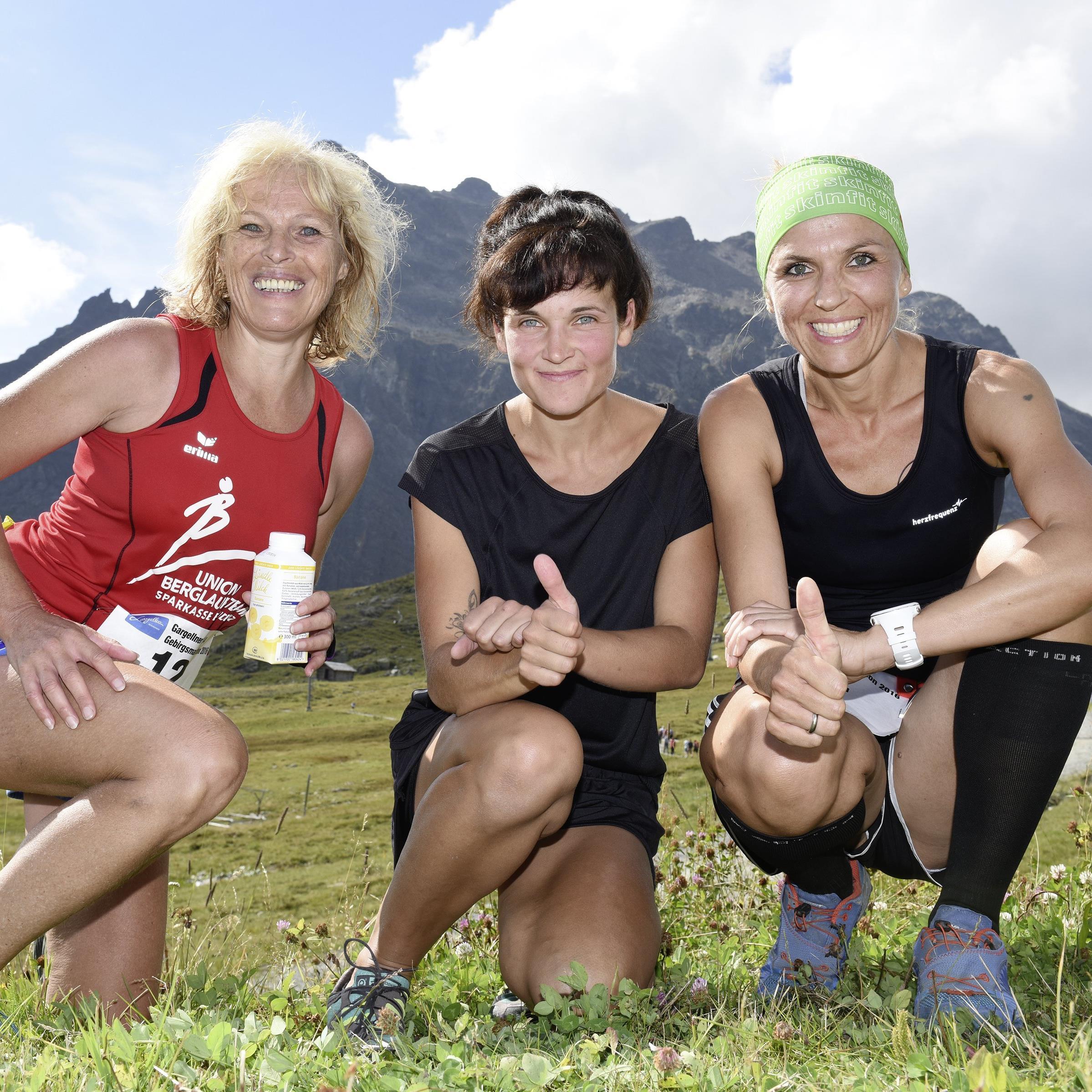 Die drei Ersten der Frauenklasse im Gargellner Bergmarathon