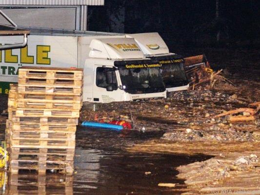Heftige Überflutungen in der Gemeinde Grins