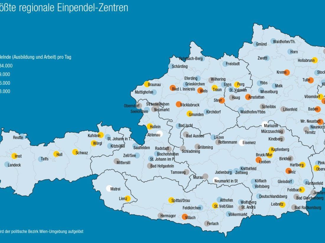 Österreichs größte regionale Einpendel-Zentren
