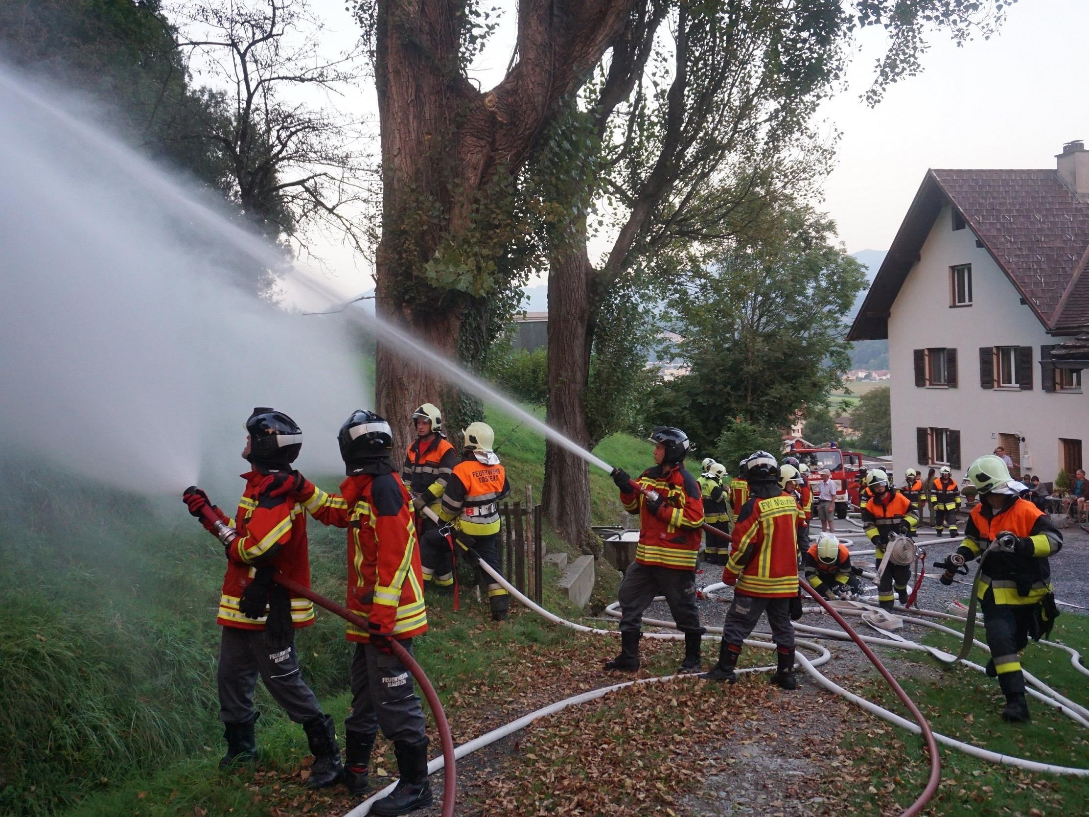 Grenzüberschreitende Feuerwehrübung am Schellenberg.
